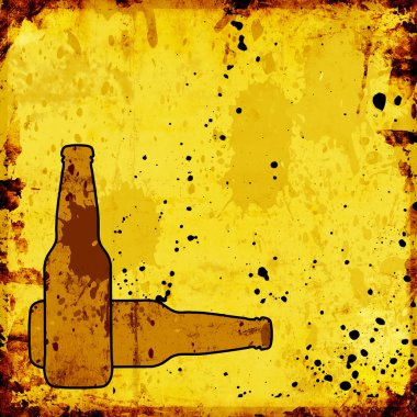 Grunge background with beer bottles