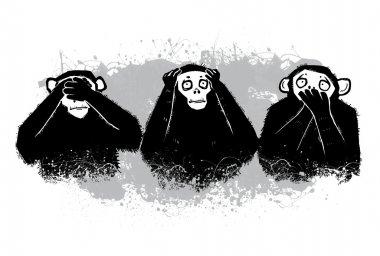 The author's illustration. Three monkeys.