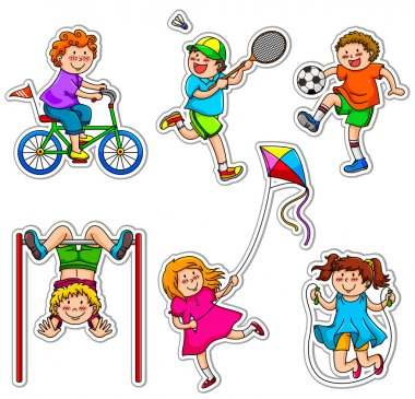 Kids doing physical activities through play stock vector