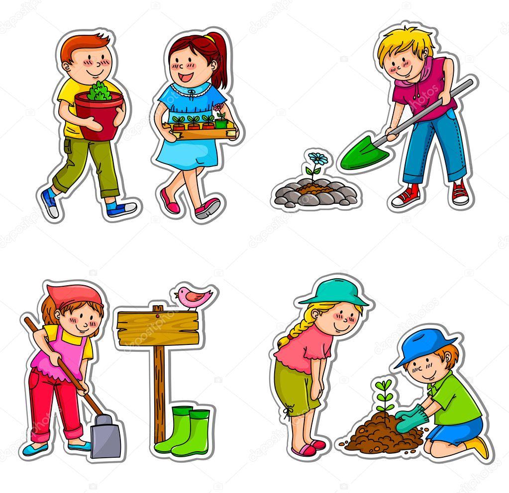 Gardening kids — Stock Vector © ayeletkeshet #11418871