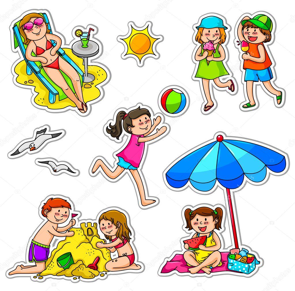 Set of kids enjoying summer stock vector
