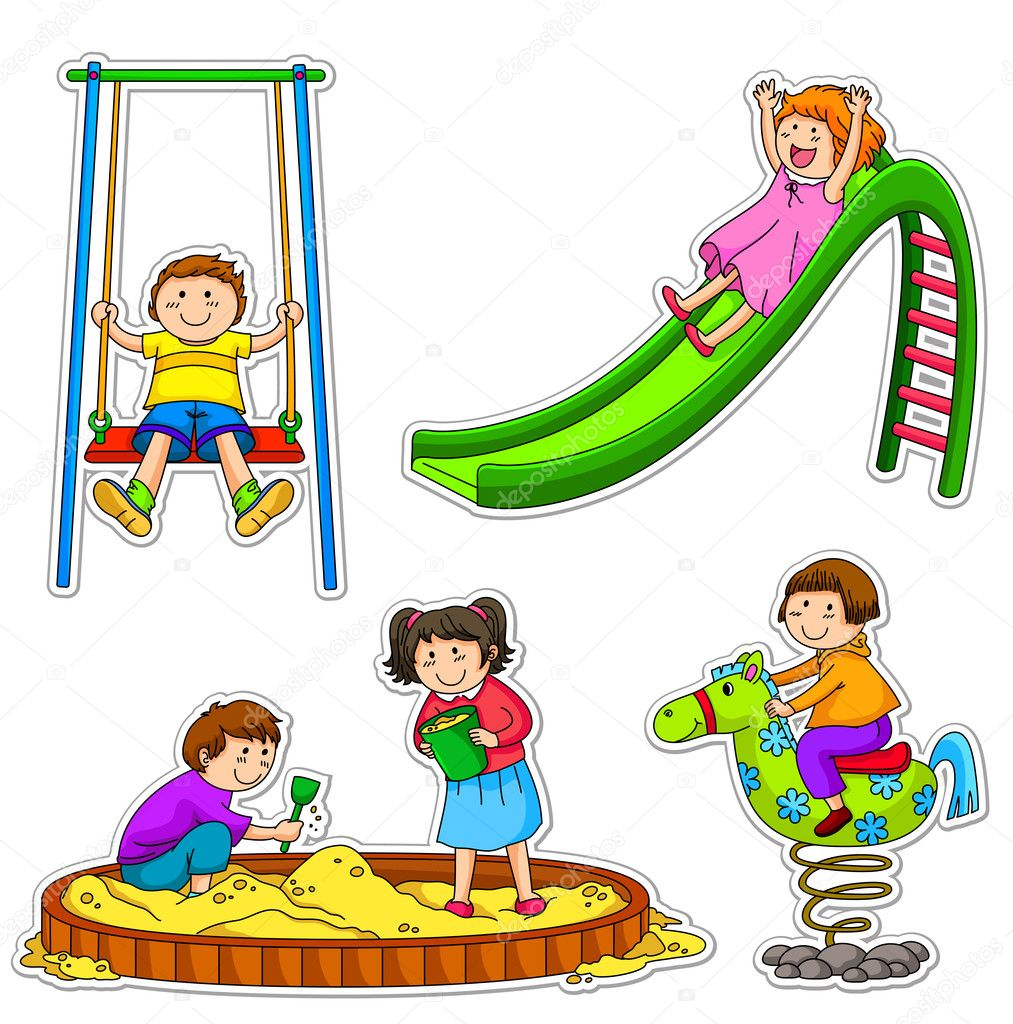 Kids playing at the playground stock vector