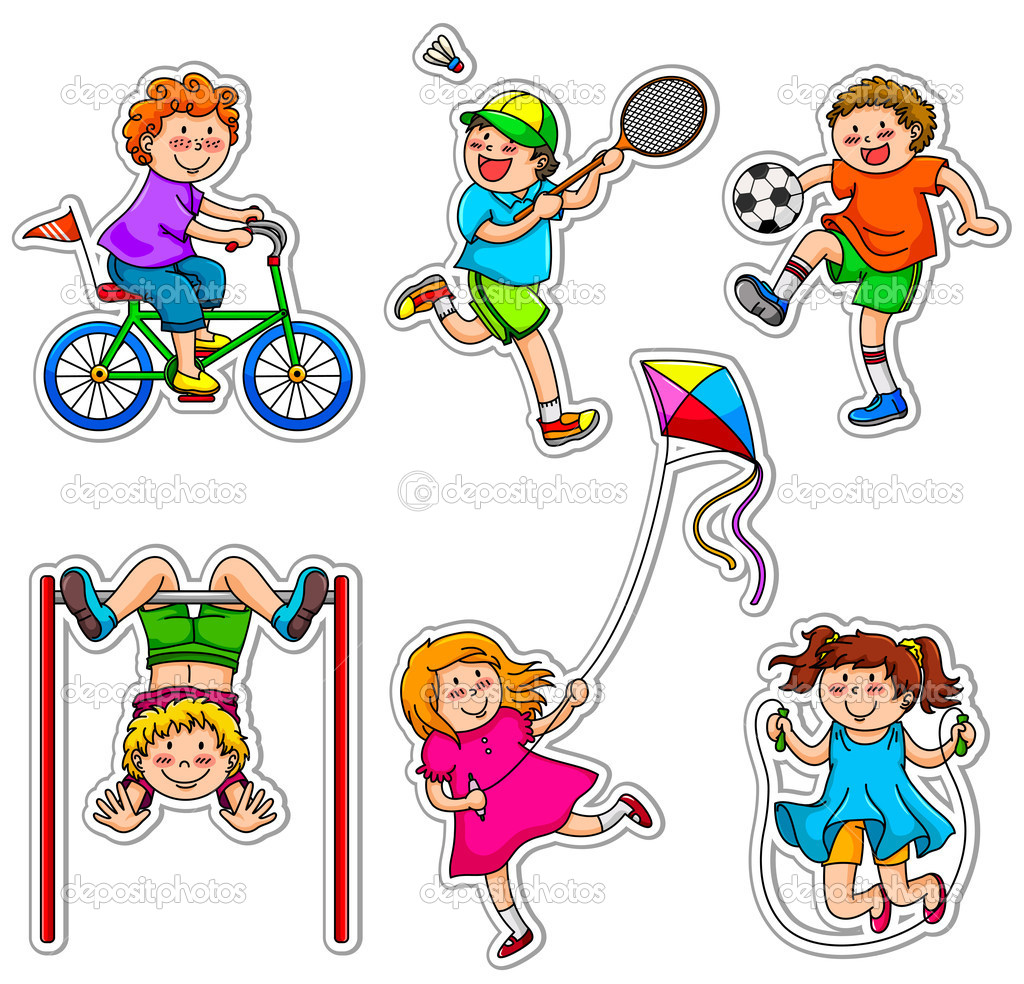 Kids doing physical activities through play stock vector