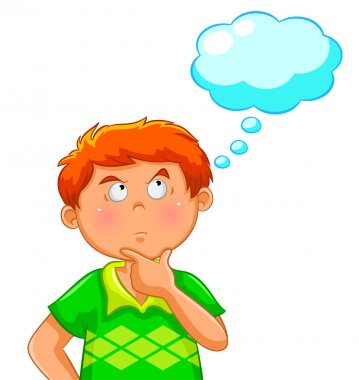 Boy thinking with a blank thought bubble over his head clip art vector
