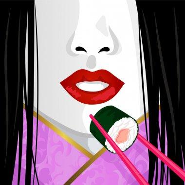 Geisha eating sushi
