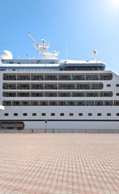 Beautiful cruise ship in harbor