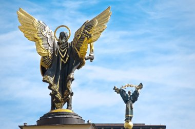 Statues on Independence Square in Kiev