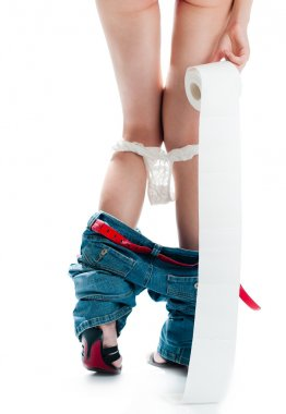 Sexy woman with toilet paper