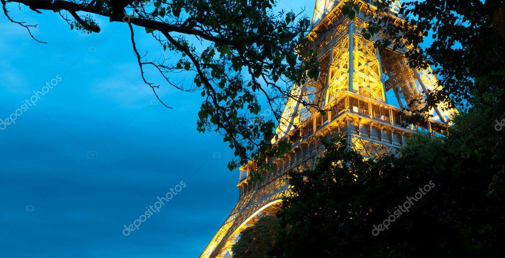 Eiffel tower at night. Paris, France.
