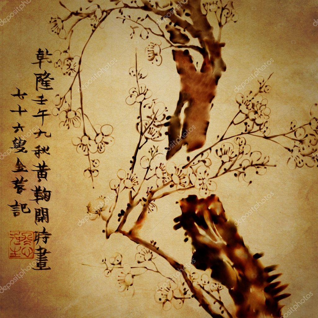 painting Chinese ink tree. Traditional old style with hieroglyphs. High resolution art
