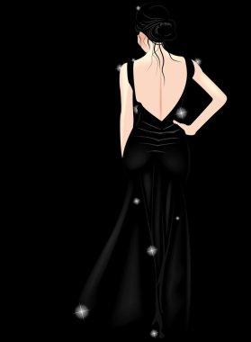 Elegant woman in black dress clip art vector