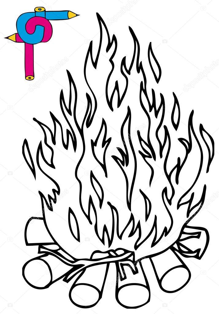 Görüntü Kamp Ateşi Boyama Stok Vektör Connynka 11422614