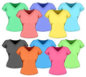 Vector set of color womens t-shirt (front view).