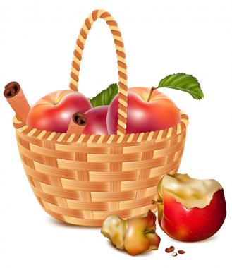 Red ripe apples with cinnamon in the basket.