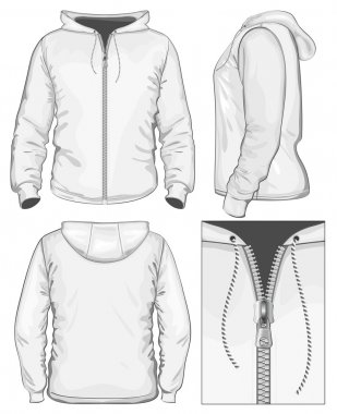 Men's hooded sweatshirt with zipper (back, front and side view)