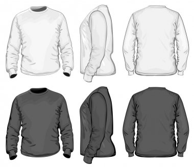 Men's V-neck long sleeve t-shirt design template