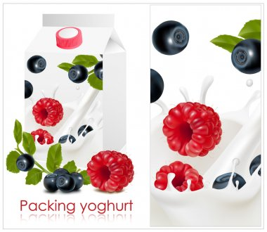 Background for design of packing yoghurt with photo-realistic vector of forest berries.
