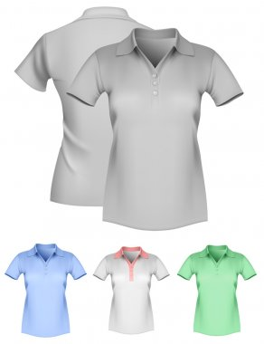 Vector illustration. Women's polo shirt template. Gray and color. Front and back. stock vector