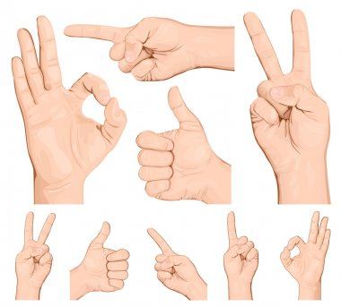Collection of hand gestures.