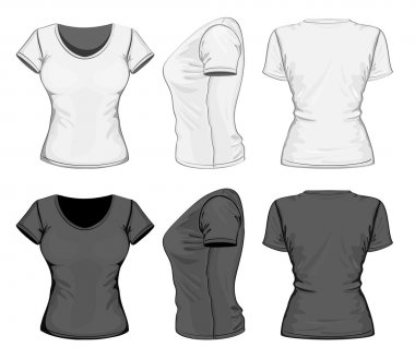 Women's polo-shirt design template (front, back and side view).