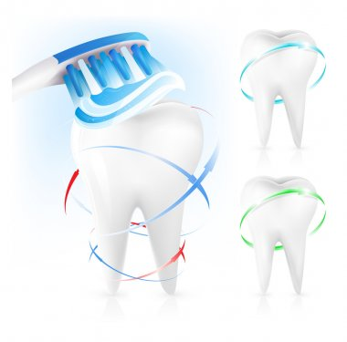 White tooth, toothbrush and toothpaste.