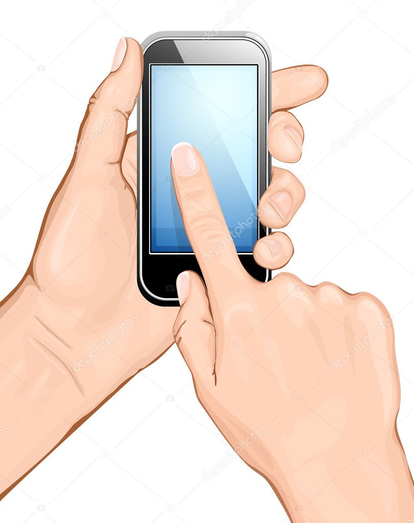 Hand holding cellular phone.