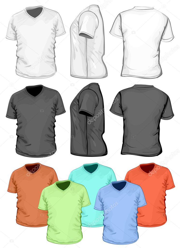 Mens V Neck T Shirt Design Template Front Back And Side View
