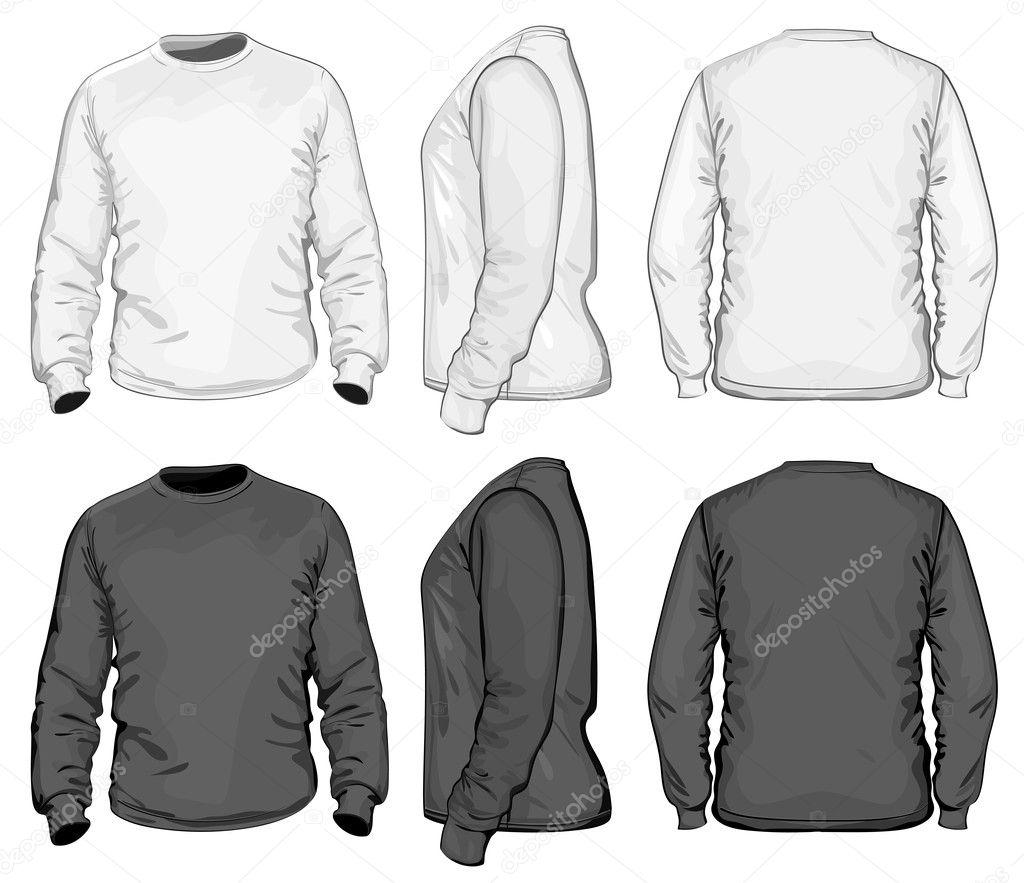 Herren v-neck Langarm T-shirt-Design-Vorlage — Stockvektor © ivelly ...