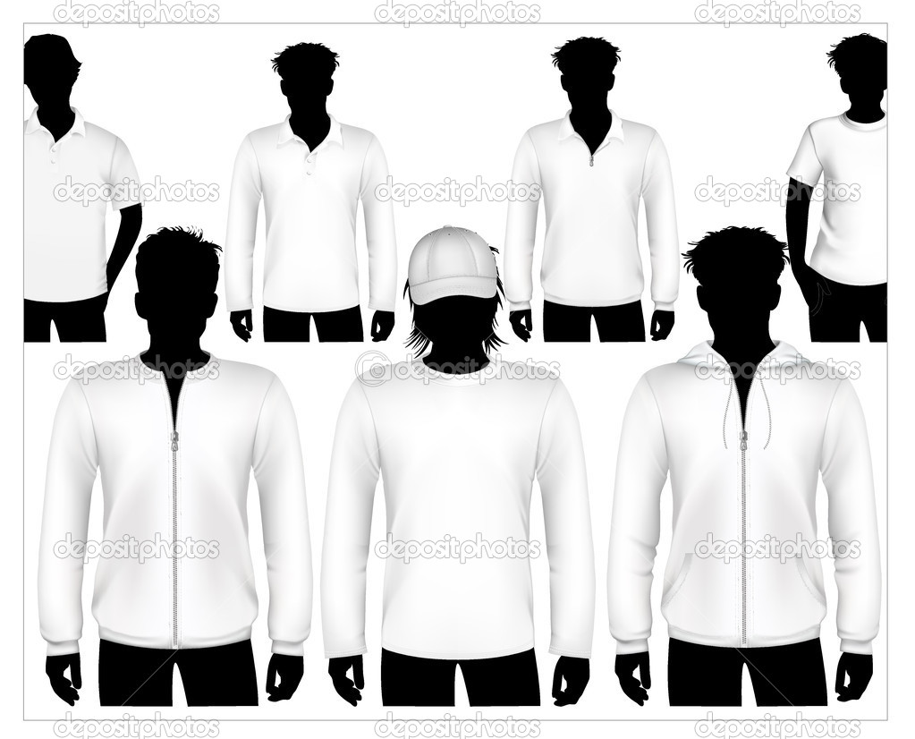Set Of Vector Clothes Design Template With Human Body Silhouette Stock