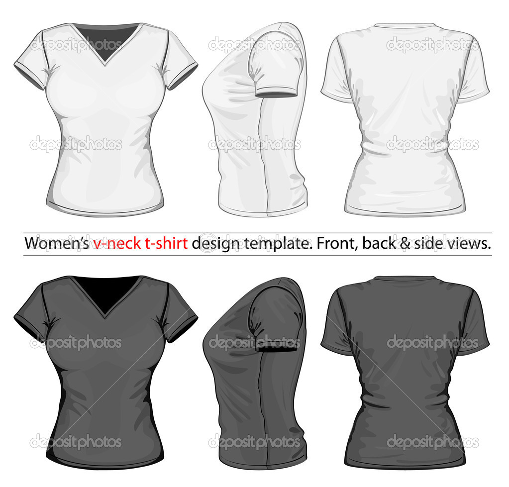 Women\'s polo-shirt design template (front, back and side view ...