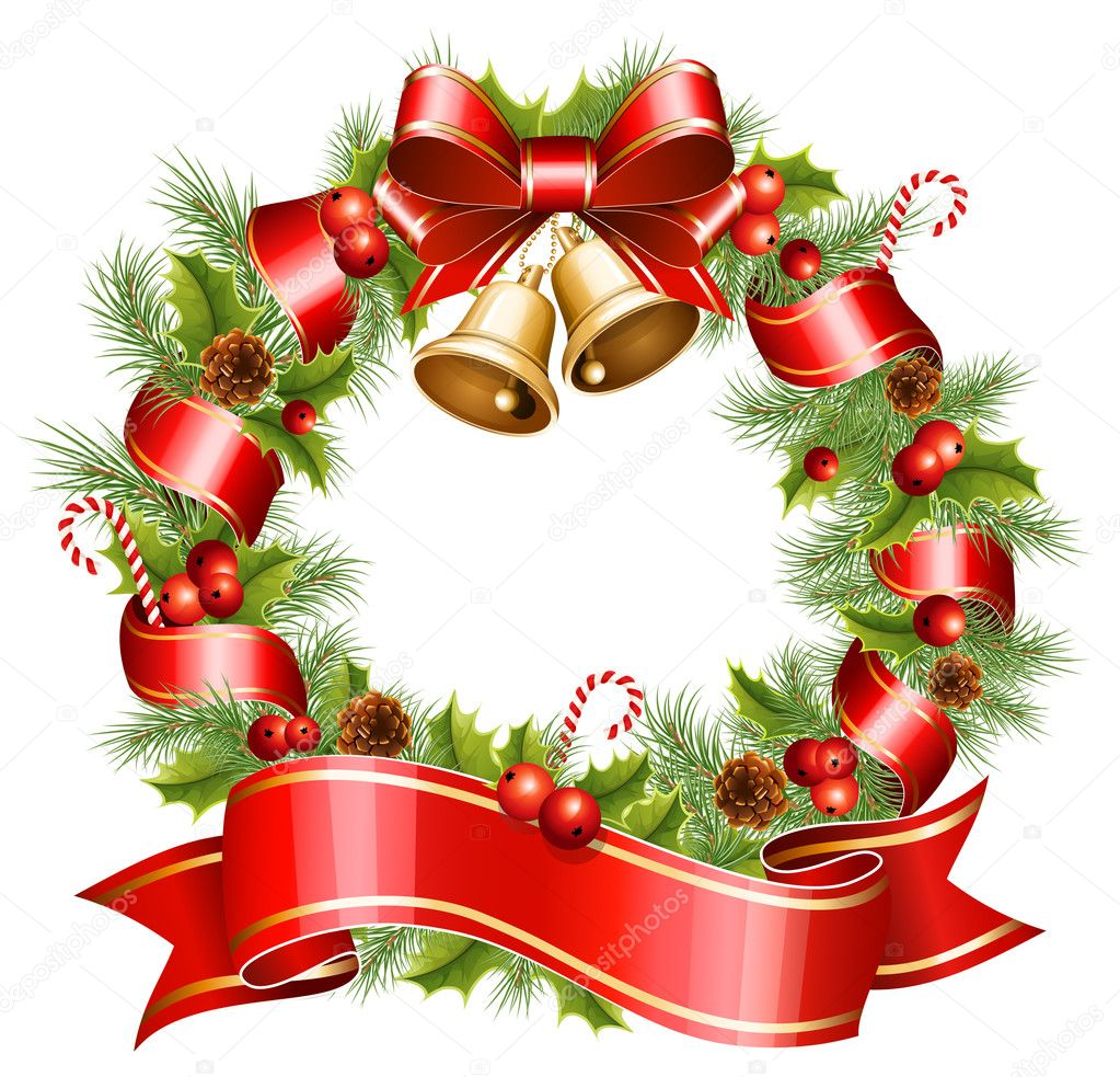 vector christmas wreath u2014 stock vector ivelly 11521909