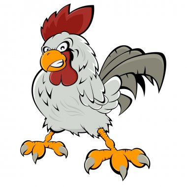 Angry cartoon rooster