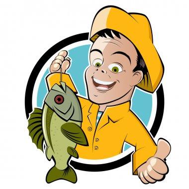 Funny cartoon fisherman