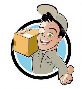 Funny parcel service cartoon