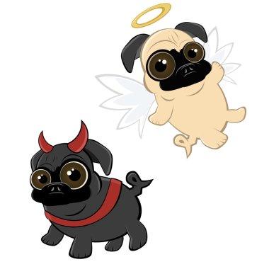 Funny cartoon pug