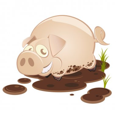 Funny cartoon pig in mud
