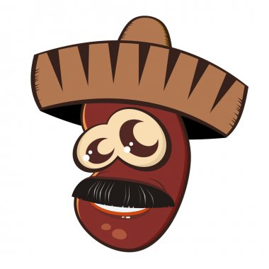 Funny mexican cartoon bean