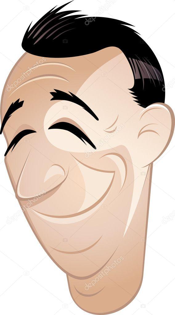 Hombre De Divertidos Dibujos Animados Con Los Ojos Cerrados