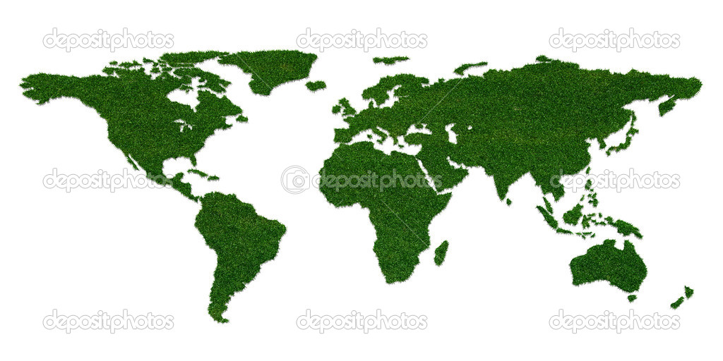 Stylized world map with grass on continents