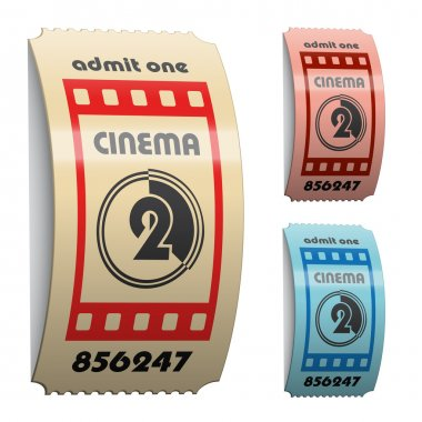 3d shiny curled cinema tickets