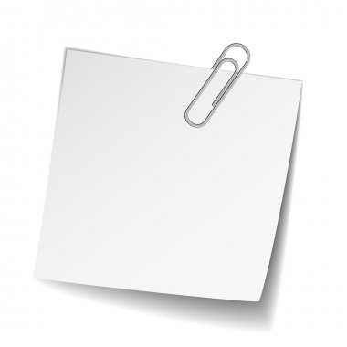 white note paper with paperclip
