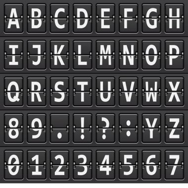 alphabet of black mechanical panel