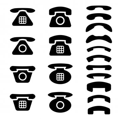 black old phone and receiver symbols