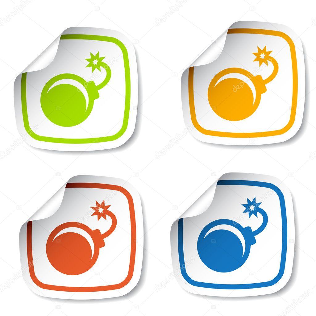 Bom stickers illustratie voor het web vector van happyroman