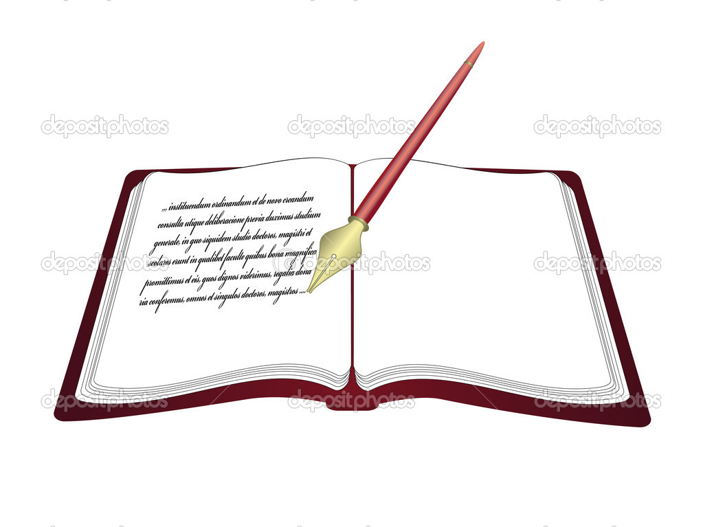 Vector open book with pen — Stock Vector © Rena_Design ...