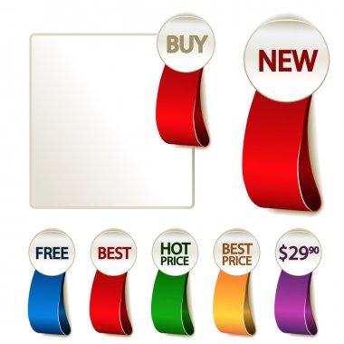 Vector set of advertising labels - illustration clip art vector