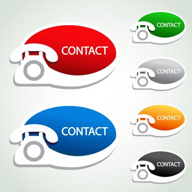 Vector phone stickers - contact icons - illustration stock vector