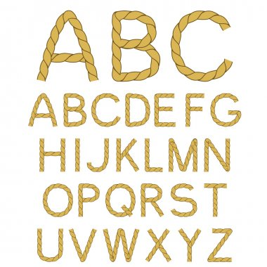 Vector rope font alphabet