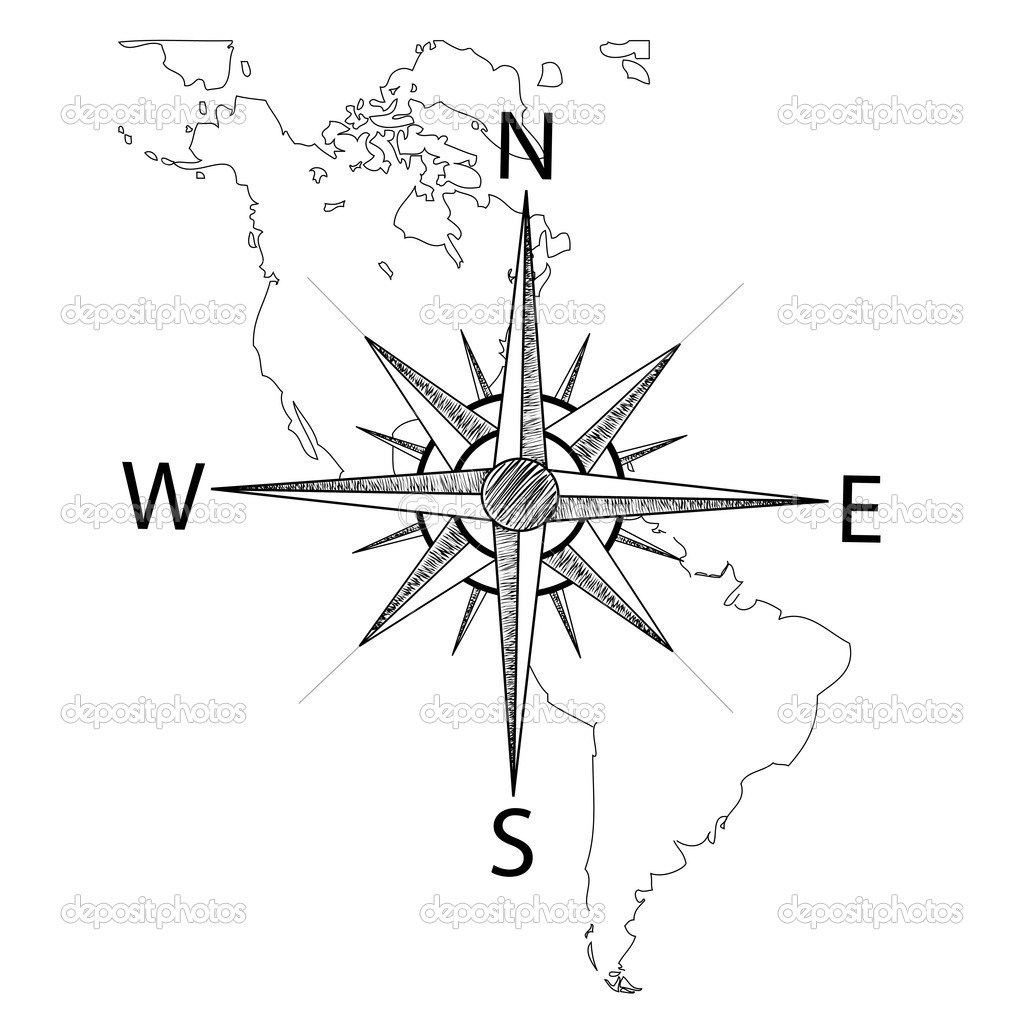 Compass On Map Vector compass on the map of America — Stock Vector © Rena_Design