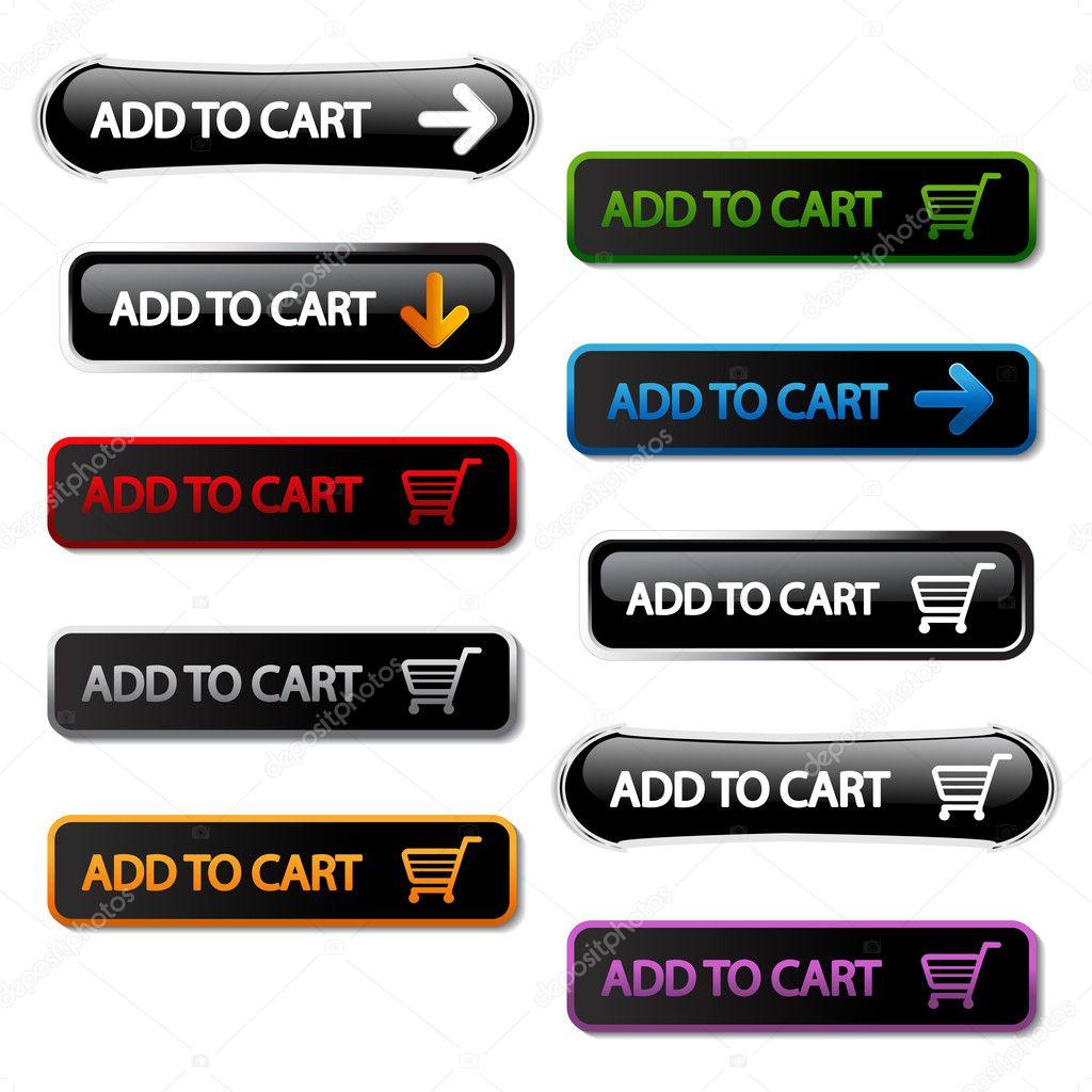 Vector pulsanti - Aggiungi al carrello — Vettoriali Stock ... 2cec0228d98